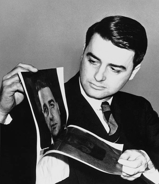 Edwin Land demonstrates his invention to the press, February 21, 1947.