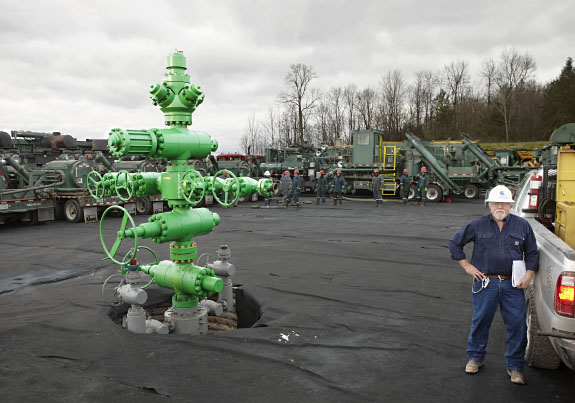 Larry Fulmer, of Cabot Oil & Gas with a fracturing stack in North East Pennsylvania