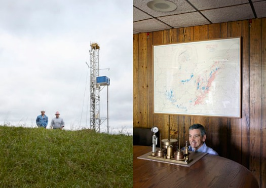 Left: Bill desRosiers & the company man. Right: John Holko, independent fracker