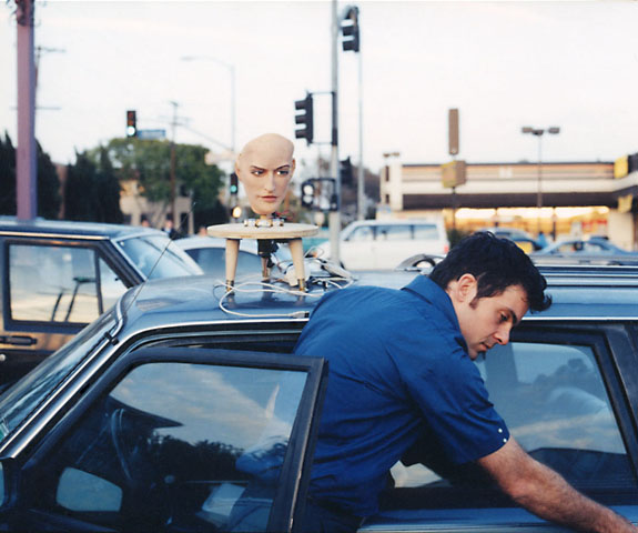 David Hanson & Kbot, shot in the parking lot of House of Pies, Los Feliz, Los Angeles, 2003.