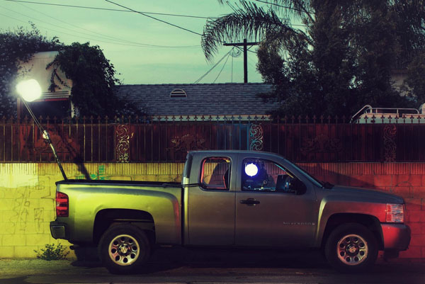 A photo of Johnny Tergo's truck, with a strobe rigging, for shooting the Passenger Side Window series.