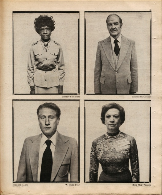 A sample page from Rolling Stone's October 21st, 1976 issue. Clockwise from upper left: Shirley Chishom, George McGovern, Rosemary Woods. Cy Vance