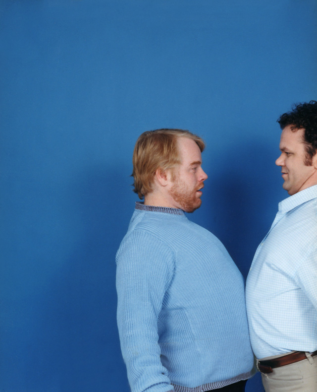 Philip Seymour Hoffman and John C. Reilly, photographed for Time Out New York in 2001. I don't remember even speaking with them - it was so fast moving I was just trying to get it all on film.