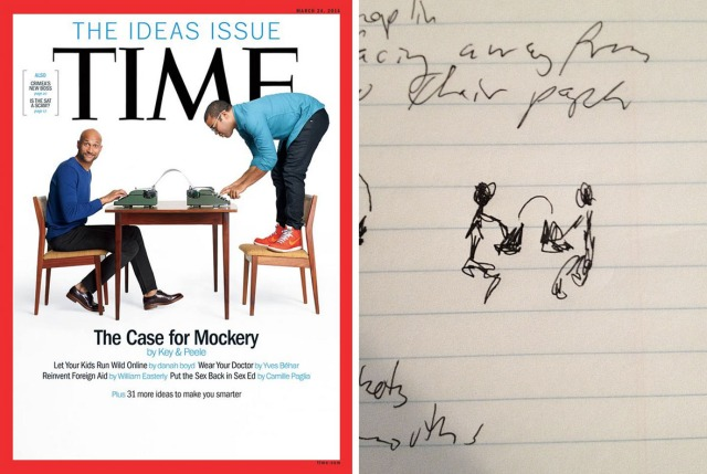 More than one person has seen a Norman Rockwell quality to the cover image; I'll certainly take that as a compliment. On the right is the sketch I sent to the photo and design team at TIME to illustrate what I had in mind (I prefer photography to drawing).