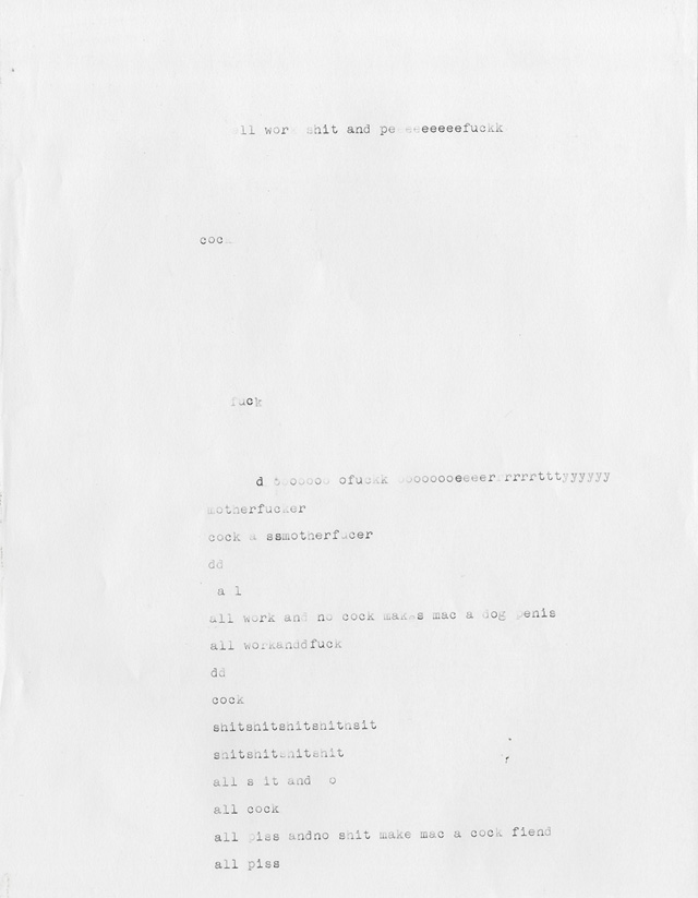 We did a shot of Mac at a typewriter and at times I'd see him pounding away on it as we adjusted the lighting and such. Hours later when we were cleaning up I found this discarded piece of paper on the floor.